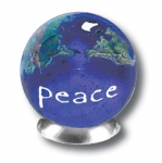 Peace On A Blue Earth Marble With Natural Earth Continents, 3 In A Pouch, 1 Inch Diameter