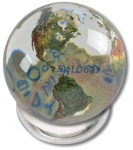 Peace Orbacle - Clear Crystal Sphere With Natural Earth Continents With Peace in 37 Languages Inside, 2 Inch Diameter