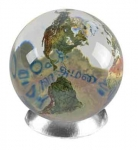 Peace Orbacle - Clear Crystal Sphere With Natural Earth Continents With Peace in 37 Languages Inside, 1.4 Inch Diameter