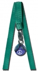 Peace Sign Bookmark, Blue Earth Marble, Silver-Plated Findings, 10 Inch Long Ribbons, Recycled Glass, Half Inch Diameter