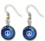 Peace Sign Earrings, Blue Earth Marbles, with Natural Earth Continents, Gold Fill Findings, Recycled Glass, Half Inch Diameter