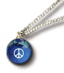 Peace Sign Pendant, Blue Earth Marble, Natural Earth Continents, Gold Fill Chain, Recycled Glass, Half Inch Diameter