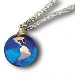 Pendant, Blue Earth Marble, with 22k Gold Continents, Gold Fill Chain, Recycled Glass, Half Inch Diameter