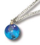 Pendant, Blue Earth Marble, Natural Earth Continents, Gold Fill Chain, Recycled Glass, Half Inch Diameter