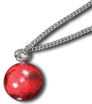 Pendant, Red Mars Marble, 3 Color Mountains & Ice Caps, Endless Stainless Steel Chain, 1 Inch Diameter