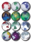 Rainbow Earth Marbles, Set Of 12 In A Pouch, Some Recycled Glass, 1 Inch Diameter