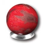 Red Mars Marble With 3 Color Mountains & Ice Caps, 5 In A Pouch, Half Inch Diameter