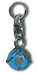 Zipper Pull Blue Earth Marble, Natural Earth Continents, Silver-Plated Findings, Recycled Glass, Half Inch Diameter